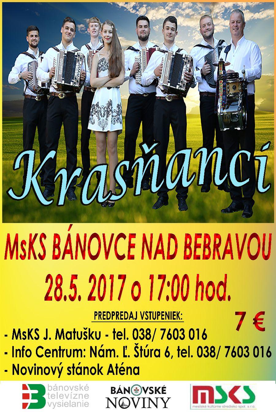 a2f65ab109 Skupina mladých muzikantov Krasňanci pochádzajúcich z malebnej obce  Krasňany pri Žiline sa v Bánovciach nad Bebravou predstaví v nedeľu 28.  mája 2017 o ...